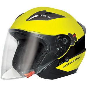 Casco jet doppia visiera Motocubo Tourer giallo fluo