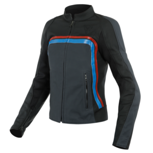 Giacca moto in pelle Dainese Lola 3 Lady Nero Blu Rosso