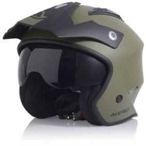 Casco moto jet Acerbis Aria Verde Militare