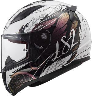 Casco moto integrale Ls2 Rapid Boho bianco nero oro