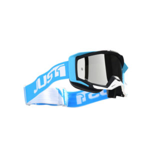 Maschera cross-enduro Just1 Iris Track Bianco Blu
