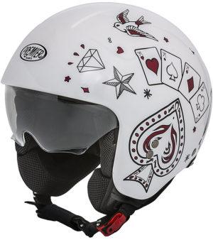 Casco Moto Mini Jet Premier ROCKER CT 8 Bianco