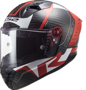 Casco integrale Ls2 FF805 Thunder C Racing1 Carbon Rosso Bianco
