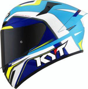Casco moto integrale Kyt TT-Course Grand Prix Bianco Blu